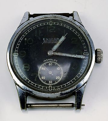 Vintage Designer Enicar Incabloc Men's Watch Old For Repair Or Parts Swiss Made