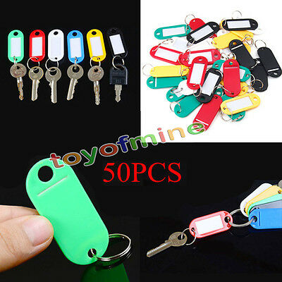 50*Plastic Luggage ID Tags Label Suitcase Bag Keychain Key Fobs Ring Hot sale