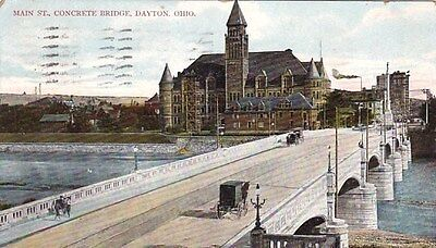 Dayton Ohio Main Stret Concrete Bridge Old Postcard