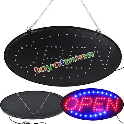 Ultra Bright Led Neon Light OVAL OPEN w/ Motion Animation ON/OFF switch Sign AU