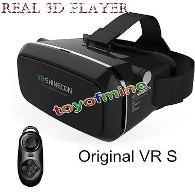 3D Virtual Reality VR Headset Glasses BOX For Smartphone + Bluetooth Controller