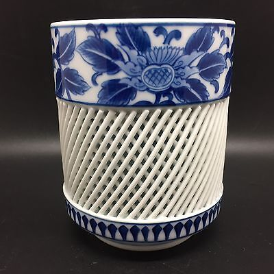 Blue & White Floral Porcelain Japanese Reticulated Lattice Tea Cup (RF562)
