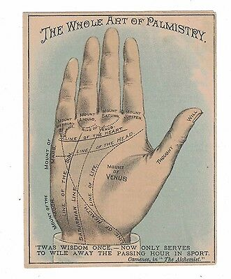 """Whole Art of Palmistry"" Sapolio Victorian Trade Card *Great Graphics*"