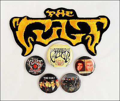 The Cult Lot of 5 80's Buttons Pins & Iron-On Logo Patch Love Removal Machine
