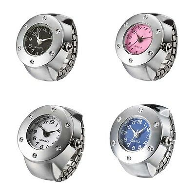 Fashion Women Girl Rhinestone Steel Round Elastic Alloy Quartz Finger Ring Watch