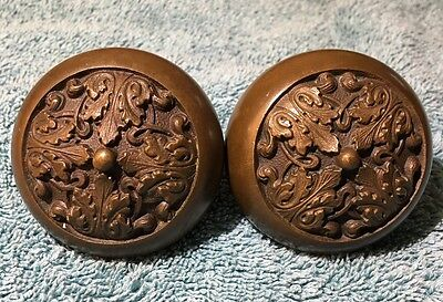 Pair of Antique Cast Brass or Bronze Door Gothic Victorian Pair