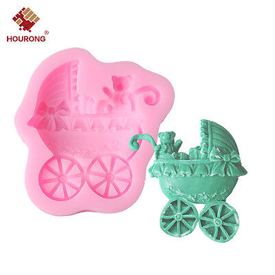 Baby Bear Stroller Silicone Fondant Mold Shower Party Cake Decorating Soap Mould