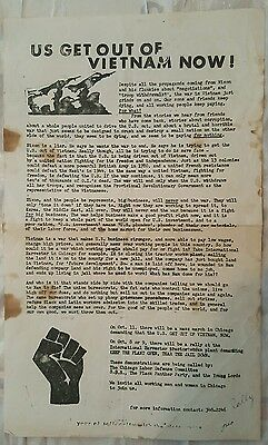Vintage 1969 Chicago Il Days Of Rage Black Panthers Young Lords Weathermen Flyer