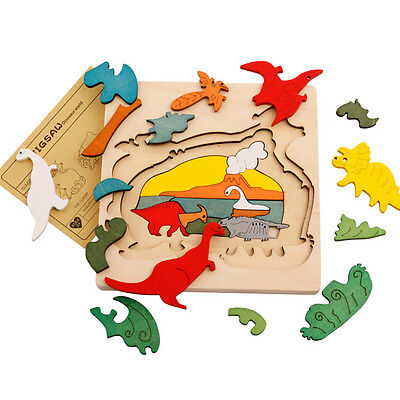 Animal Jigsaw Puzzle Toy Early Educational Montessori Toy Wooden Children Toy FT