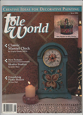 TOLE WORLD ~ June 1993 ~ 11 Projects ~ Pattern Sheet Still Attached ~ VGC