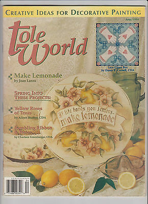 TOLE WORLD ~ April 1994 ~ 13 Projects ~ Issue 127 ~  Pattern Sheet Inside ~ VGC