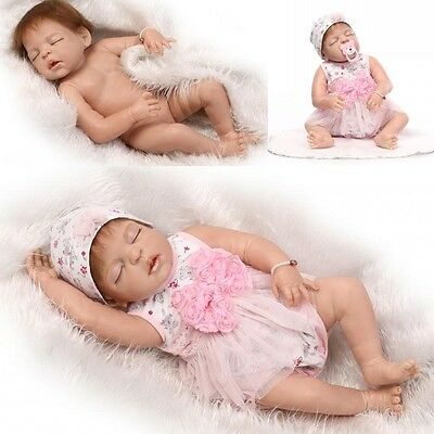 "Full body vinyl silicone Reborn doll 23""Lifelike Newborn baby Christmas gifts"