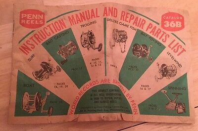 Vintage 1976 Penn Reels Instruction Manual and Parts Repair Parts List Book!