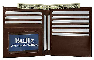 Mens Brown Cowhide Leather Bifold European Hipster Credit Cards 1 ID Wallet