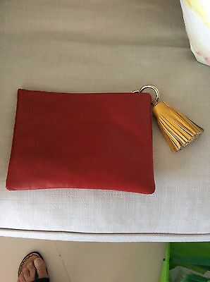 red leather clutch With Strap