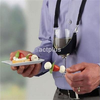 Party Time Hands Free Wine Glass Holder Necklace Wine Tasting Accs Lanyard UK