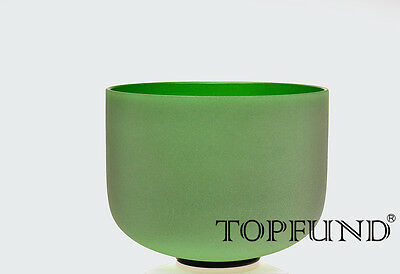 """Green Colored F Heart Chakra Frosted Quartz Crystal Singing Bowl 12"""""""