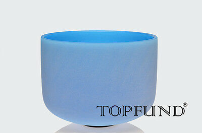 """Blue Colored Frosted G Throat Chakra Crystal Singing Bowl 10""""(Case included"""