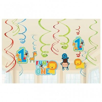 12 x First / 1st Birthday Boy Foil Swirls Hanging Party Decorations - New