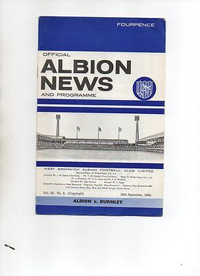 FOOTBALL PROGRAMME - WEST BROMWICH ALBION v BURNLEY 26 SEPTEMBER 1964