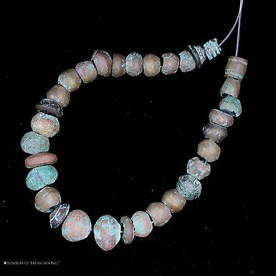 29) 32 Ancient Pre Columbian Copper Metal Beads Artifact
