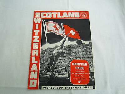 1957 WORLD CUP INTERNATIONAL SCOTLAND v SWITZERLAND