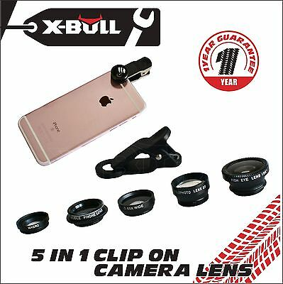 Universal 5in1 Clip On Camera Lens Kit Fisheye Wide Angle Macro for Phone