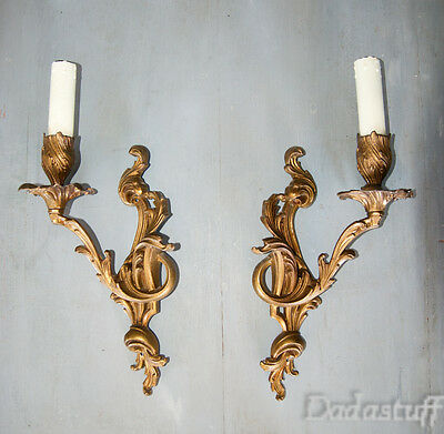 Pair Large Vintage French Gilded Bronze Sconces Louis XV Caffieri Rococo Style