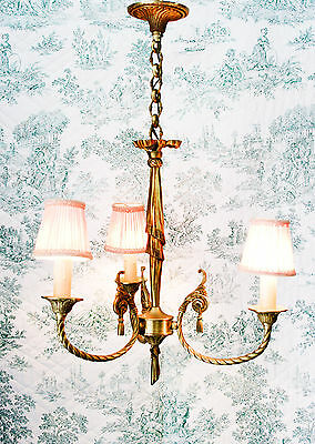 Old French Louis Xvi Style Bronze Chandelier Marie Antoinette Ribbon Bow