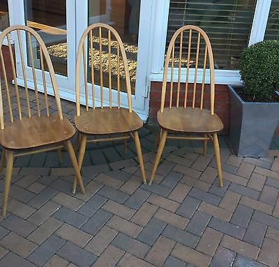 Lovely Set Of 3 Light Elm Ercol Vintage Windsor Dining Chairs.