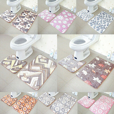 2pc Flower Soft Bathmat Pedestal Mats Toilet Non Slip Washable Floor Rugs Set