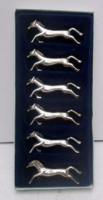 Boxed Set of 6 Retro French Plated Metal Horse Knife Rests, Vintage 1970's