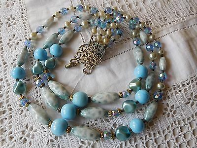 Vintage 1950s Triple Strand Blue Venetian Glass Bead Necklace with pearls