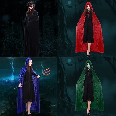 Velvet Hooded Halloween Costumes For Festival Performance Witches Cloak Cape SW