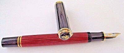 Pelikan M600  Souveran  Red Stripes  Nib 14K Gold -M- New In Box, Papers