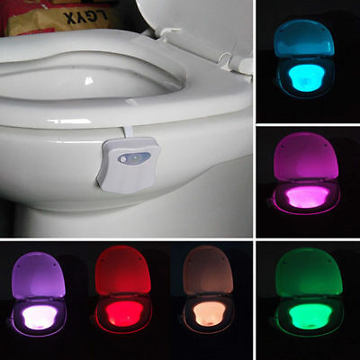 LED Sensor Motion Activated Bathroom Toilet Seat Bowl Battery Glow Night Light