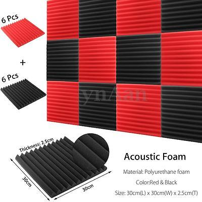 6Pcs Black + 6Pcs Red Charcoal Soundproofing Acoustic Wedge Foam Tile Wall Panel