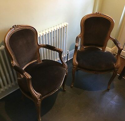 Vintage Louis XV style Pair Fauteuils Open Arm Chair Chairs Velvet French Salon