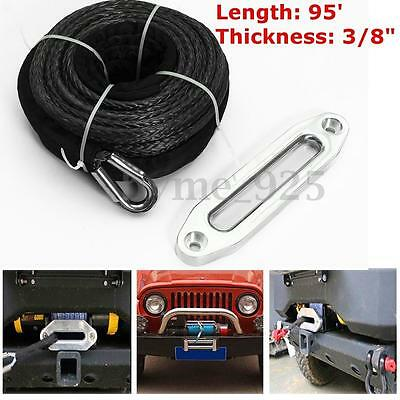 "3/8'' x 95"" Car Gray 16500 LBs Synthetic Winch Line Cable Rope + Hawse Fairlead"