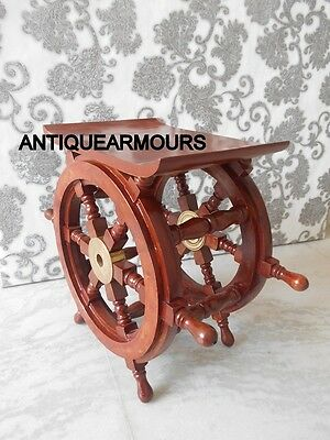 NAUTICAL MARINE Home and Office Decor Brown Wooden Antique ShipWheel~side table