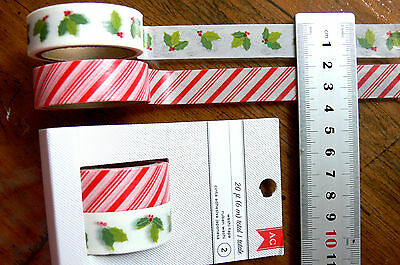 HOLLY & CANDY Stripe WASHI TAPE x 2 Designs CHRISTMAS (20ft = 6 Metres) GT up