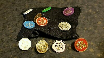 Mixed lot of Boys Brigade badges round plastic on cloth arm band lot 10
