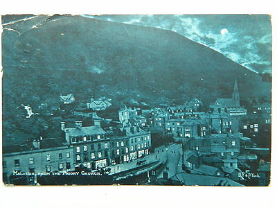 Vintage  Postcard  MALVERN  From  The  Priory  Church ( At  Night )Posted  1906