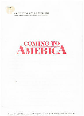 Coming To America: Production Notes/press Information: 1988: Paramount Pictures
