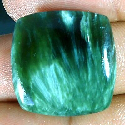 25.00Cts 100% NATURAL DESIGNER GREEN SERAPHINITE CUSHION CABOCHON FINE GEMSTONES