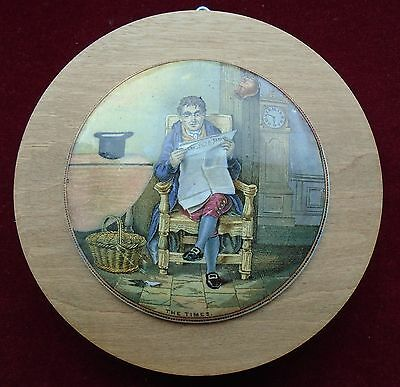 OLD PRATTWARE WOOD MOUNTED POT LID No.327 ''THE TIMES '' c.1860