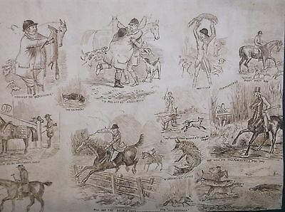 Victorian Comical Ink Drawing Studies Of Hunters And Riders Chasing A Fox