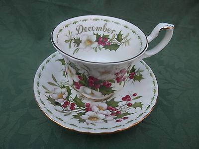ROYAL ALBERT FLOWER OF THE MONTH December PLATE & TEA CUP VGC MADE IN ENGLAND