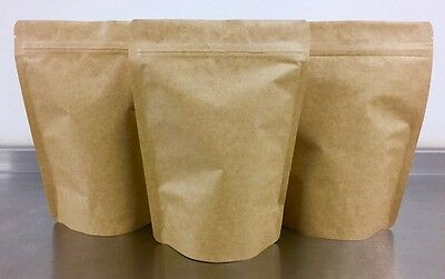 Kraft Paper Foil Lined Stand Up Pouch   Zip Lock   Heat Sealable   Food Grade