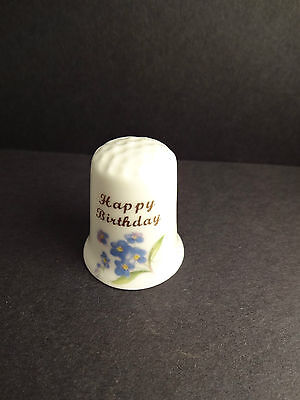 Happy Birthday Blue Floral Thimble-GIMBEL & SONS Fine Bone China Made in England